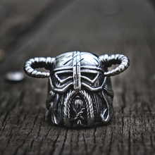Unique Vikings Horns Helmet Warrior Biker Ring Mens Vintage Heavy 316L Stainless Steel Rings Nordic Jewelry