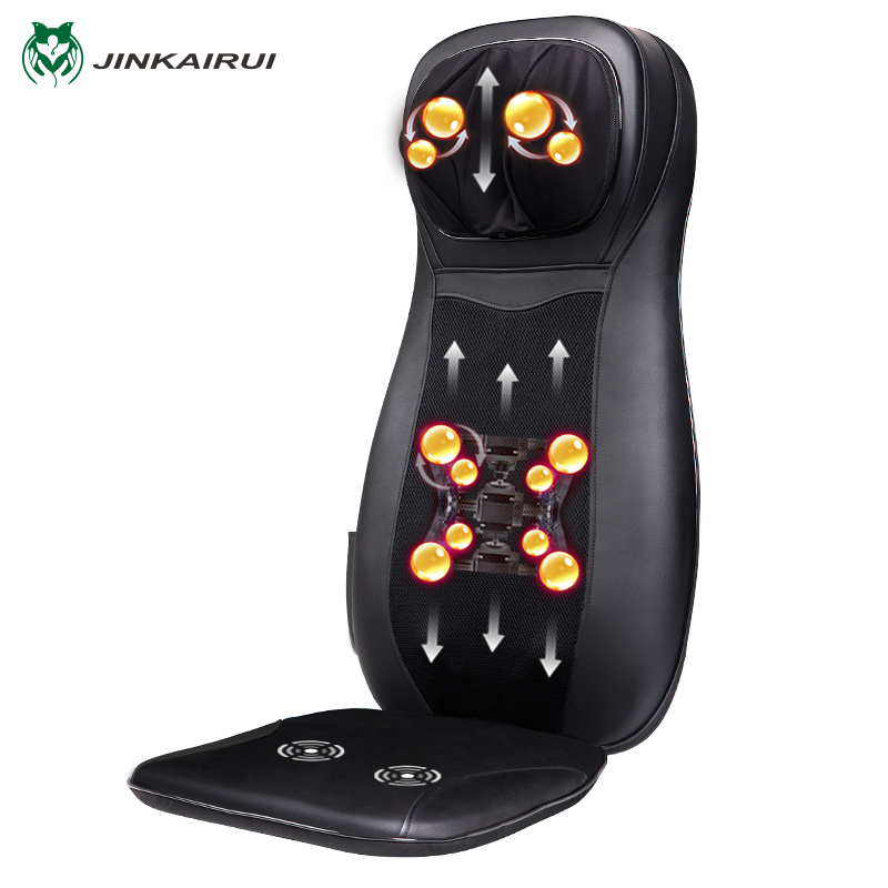 JinKaiRui Infrared Heating Vibrate Neck Back Massage Chair Car Home Office Massager Kneading & Shiatsu Cushion Seat Relaxation electric shiatsu foot massager far infrared heating kneading reflexology massage device home relaxation back massager