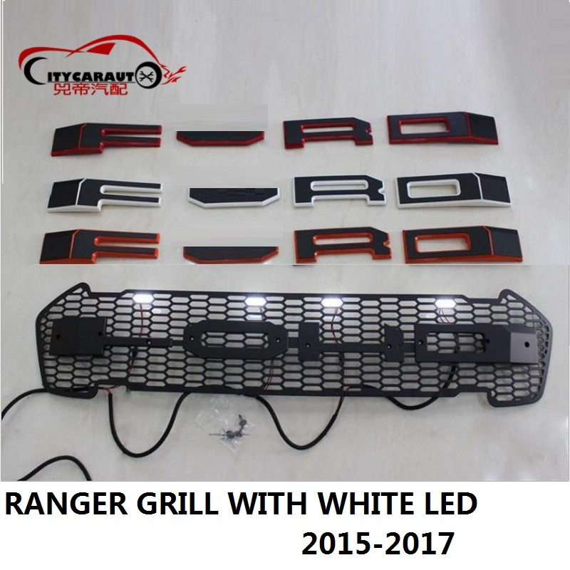 CITYCARAUTO CAR STYLING WHITE 4 LED RACING GRILL GRILLE RAPTOR GRILLS FRONT MASK COVER FIT FOR FORD RANGER T7 TXL 2015-2017 racing grills version aluminum alloy car styling refit grille air intake grid radiator grill for kla k5 2012 14