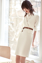 European American Style Ladies Dress Brief Fashion Notched White Black Sleeveless Work OL Office Dress Slim Sashes Pencil Spring