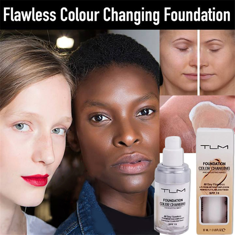 30ml TLM Color Changing Liquid Foundation Face Makeup Base Warm Skin Tone Nude SPF 15 Face Moisturizing Full Cover Concealer