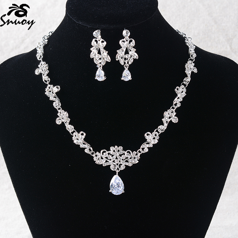 Snuoy Costume Jewelry Sets Silver Rhinestone Necklace and Earrings For Women Bijouterie feminine jewelery set
