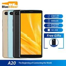 الأصلي Blackview A20 الهاتف الذكي الروبوت الذهاب 18:9 5.5 بوصة كاميرا مزدوجة 1GB RAM 8GB ROM MT6580M 5MP 3G الهاتف المحمول