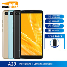 원래 Blackview A20 Smartphone Android 18:9 5.5 인치 듀얼 카메라 1GB RAM 8GB ROM MT6580M 5MP 3G 휴대 전화