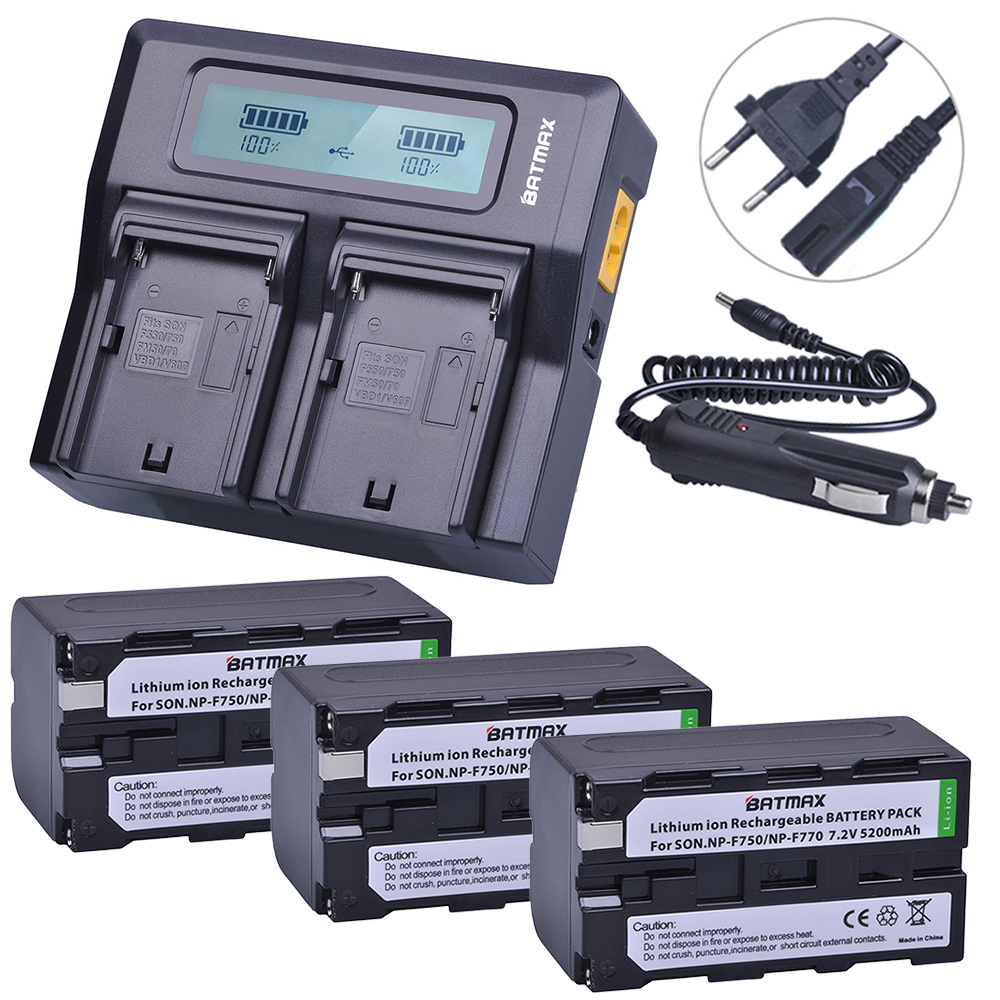 3Pcs 5200mAh NP-F750 NP-F770 NP F750 NP F770 Battery + Fast LCD Dual USB Charger for NP-F970 F550 NP-F960 F970 F950 NP F750 bat 4pc 7200mah np f960 np f970 f970 battery packs lcd ultra fast dual charger plug kits for sony np f550 np f770 np f750 f960 f970