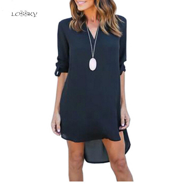 be625f0b950 LOSSKY Autumn Oversized Women V Neck Chiffon Dress Long Sleeve Loose Mini Tunic  Shirt Dress Asymmetric Front Short Vestidos2019