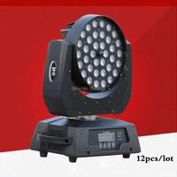 12pcs/lot 36x12w RGBW LED moving zoom DMX Stage Moving Head Wash Light