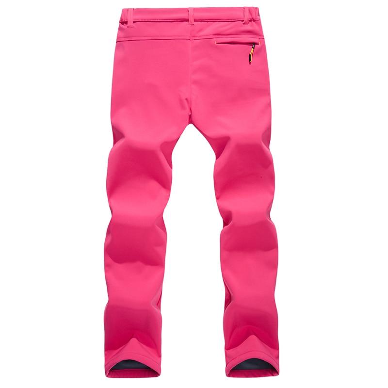 Women Camping Trekking Waterproof Hiking Pants Outdoor Climbing skiing Softshell Fleece Warm Black Rose Plus Size Trousers