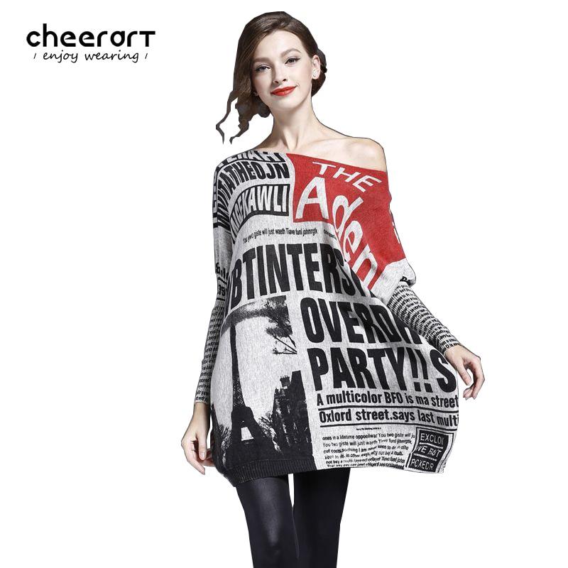 Cheerart סוודר גדול נשים הדפס סרוג בתוספת גודל סוודרים וסוודרים Jumper סתיו חורף משיכה Femme