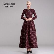 fashion muslim long sleeve new arrival cotton autumn winter long dress floral printed o neck plus size elegant slim maxi dress