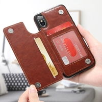 Retro PU Leather Case For iPhone X ulti Card Holders Case Cover 5