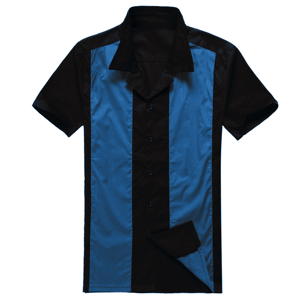 Online Shopping Stores Uk Design Mens Casual Shirts Black Blue Rockabilly Fifties Clothing for Party Club image