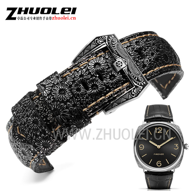 New arrivals High-quality Luxury Band 24mm 26mm Retro Watchband Watch Strap For PAM leather bracele for mens wrist-watches band 20mm 22mm 24mm 26mm khaki genuine leather watchband retro type watchband suitable for pam watches and rough watch free shipng