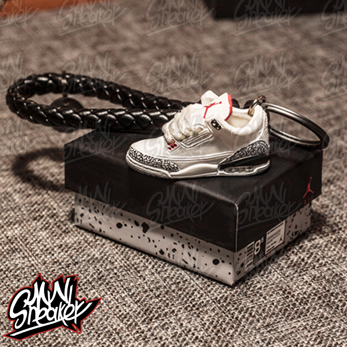 SneakersAIR  White Cement Jordan 3 White Cement  Stereo 3D Model Key Ring Pendant JORDAN 3 Car Key Chain