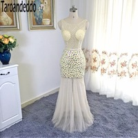 See Through Hand Beading Champagne Sequin Prom Dress Open Back Colorful Crystals Sheath Evening Dress Vestidos