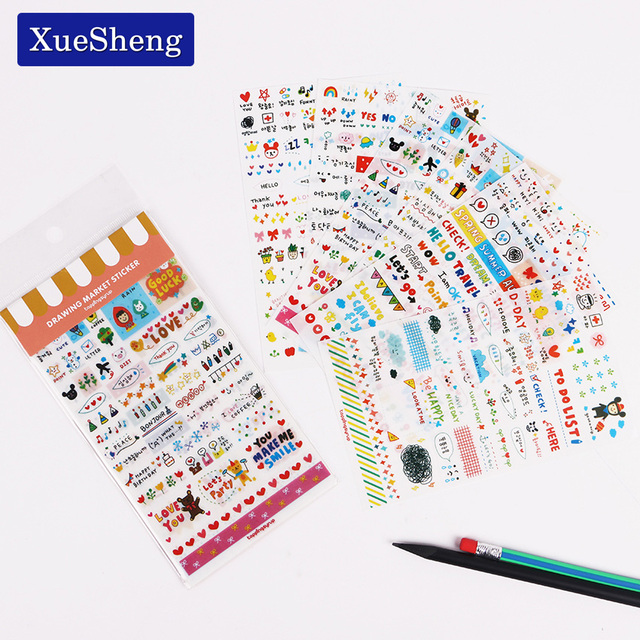 6PCS/set Kawaii Cute Drawing Market Planner Book Diary Decorate Stationery Stickers PVC Transparent Scrapbooking 4