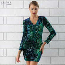 Adyce Sexy V-hals Avond Party Dress 2018 Elegante Pailletten Verfraaid Runway Jurk Vestidos De Festa Mode Vrouw Jurken(China)