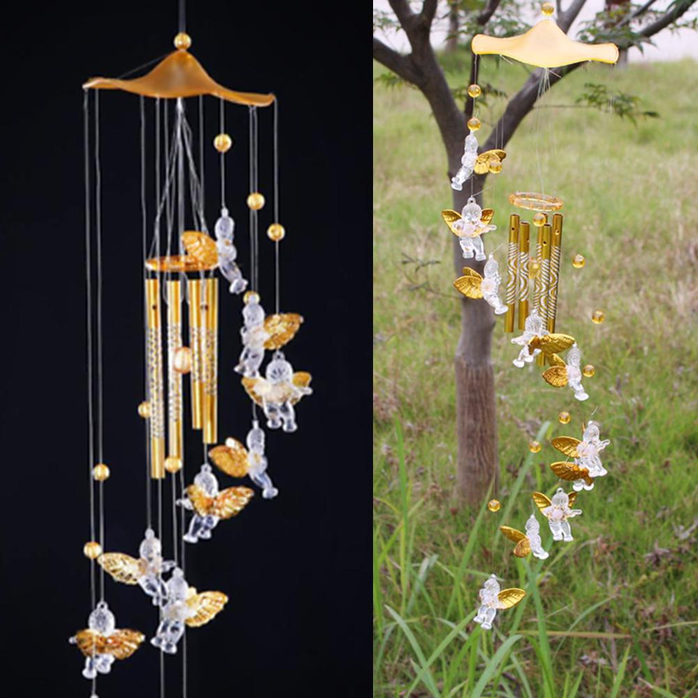Antique Resonant 5 Tubes Love Angel Wind Chime Bells Hanging Living Bed Home Decor Gift Car Outdoor Yard Garden Deco Wind Chimes(China)