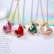 Women Gold Necklace Pendant Embellished With Crystals from Swarovski Heart Necklace Angel Wing (4 colors)