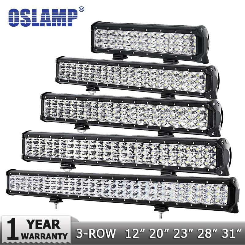 "Oslamp 12 ""20"" 23 ""28"" 31 ""3-rads LED-ljusstång Offroad Combo Beam Led Arbetslampa 12v 24v Truck SUV ATV 4WD 4x4 Led Bar"