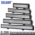 Oslamp 12 20 23 28 31 44 3-Row Haz Combo LED Light Bar Offroad Trabajo del Led Light Bar DC12v 24 v del Carro SUV ATV 4WD 4x4 Barra de Leds