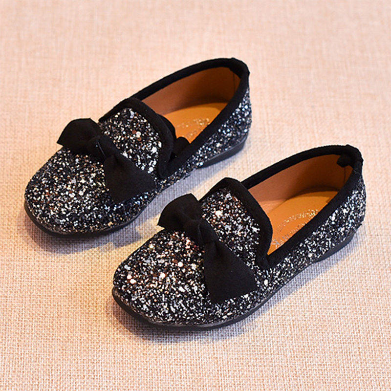 Girls Shoes With Bow Knot Flats Slip on Bling Loafers Glitter Children Kids  Shoes Princess Shoes 3 11 years Old MCH024 on Aliexpress.com  88dc379cb588