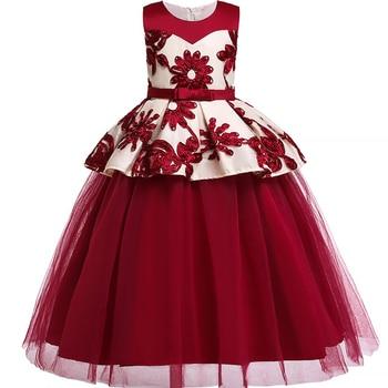440b0facc 2019 nuevo bebé niñas princesa 3D flor vestido de baile vestido de la dama  de honor vestidos para niñas