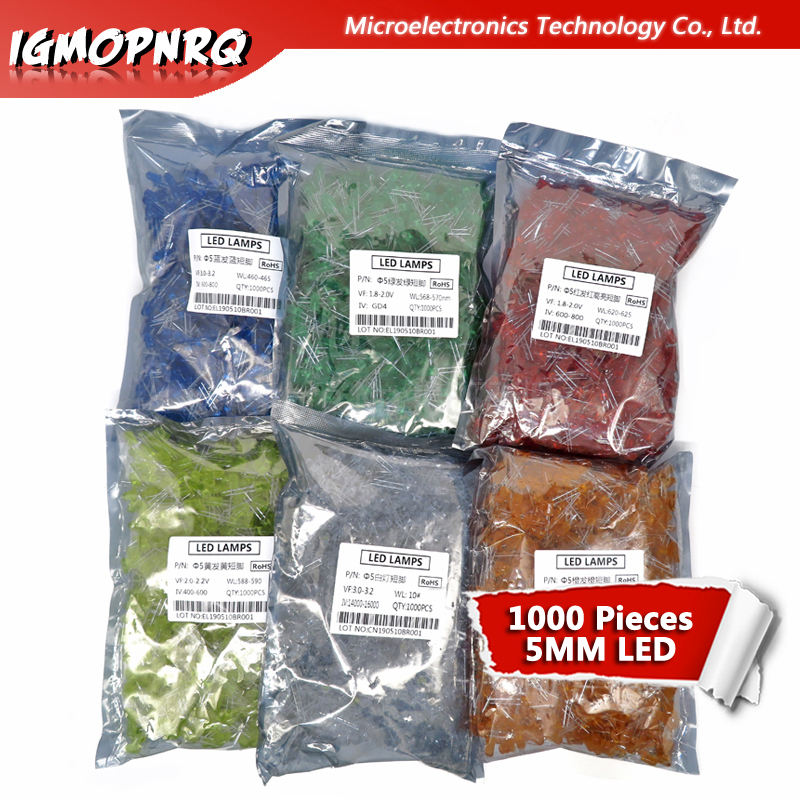 1000pcs blue green <font><b>red</b></font> yellow white orange <font><b>5mm</b></font> <font><b>led</b></font> light-emitting diodes image