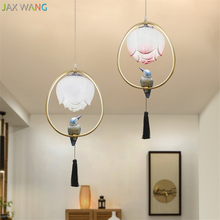 Modern New Chinese Lotus Pendant Lights Restaurant Table Bar Balcony Aisle Small Garden Bird Decorative Hanging Lamps Fixture a1 the bird creative pastoral style porch corridor aisle lights european bedroom windows small restaurant balcony pendant lig