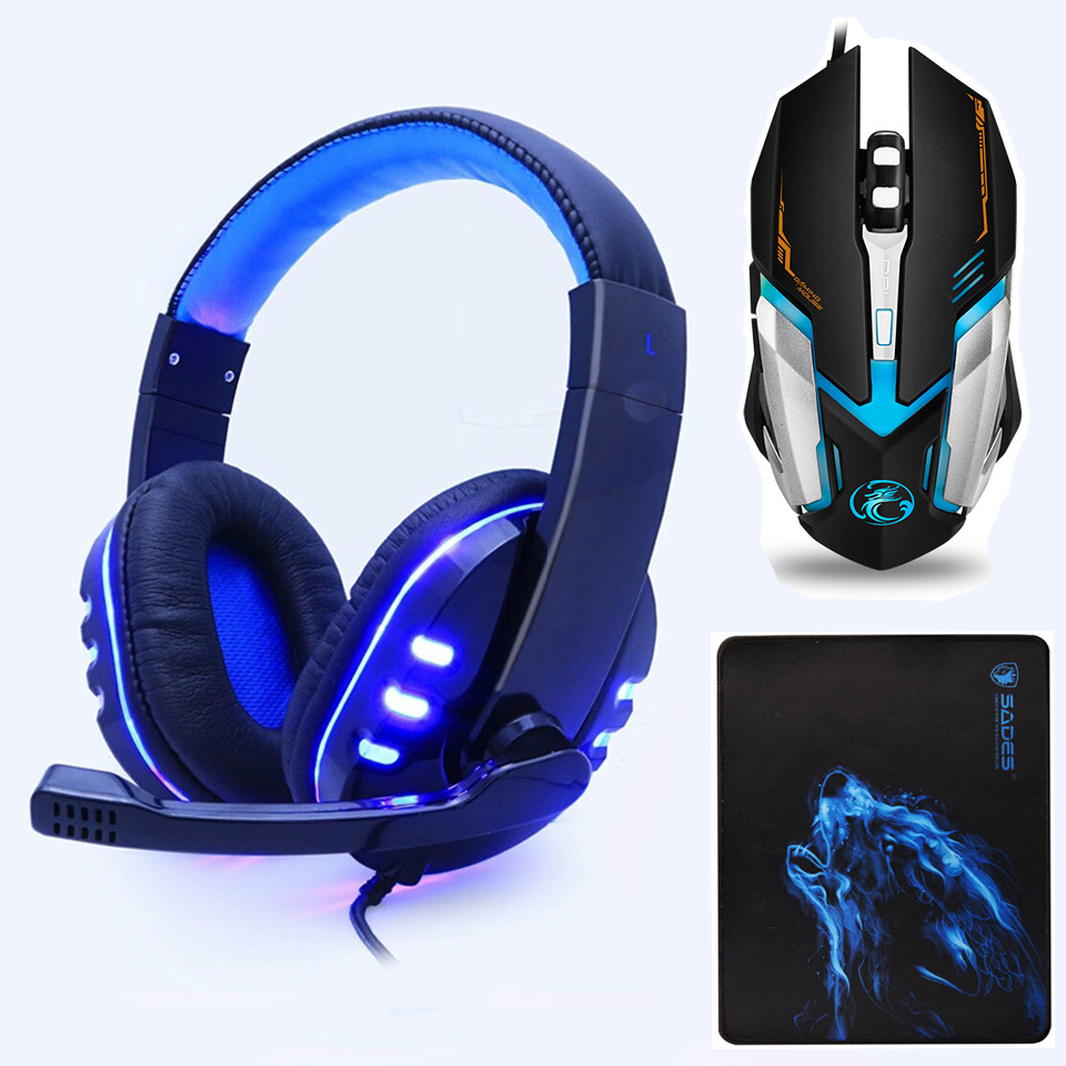 Gaming Headset Deep Bass Stereo Computer Game Headphones with microphone LED Light PC professional Gamer For PS4 Xbox One