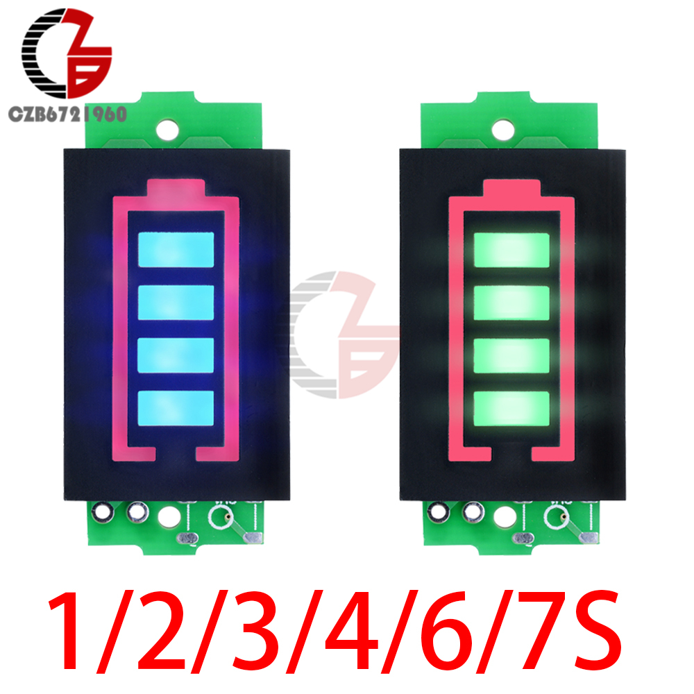 1S/2S/3S/4S/6S/7S 12V 18650 Li-po Li-ion Lithium Battery Capacity Indicator Voltmeter Power Tester Blue Green LED Display Panel