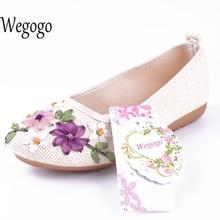 Wegogo Китайский Новый Национальный Цветочные Традиционная Вышивка Повседневная Женщины Квартиры Мода Обувь Для Женщины Цветы Обувь большой размер 42