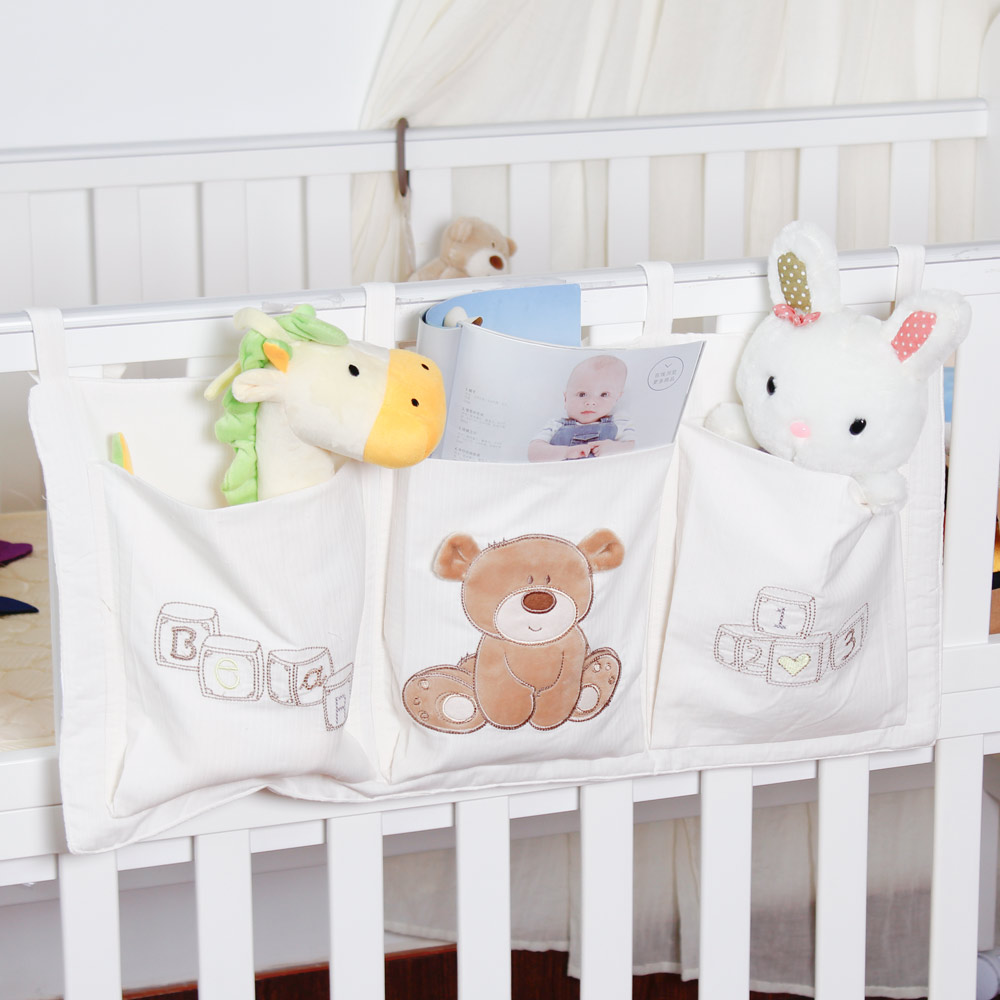 Baby bed accessories - Aliexpress Com Buy Naheber Baby Bed Hanging Storage Bag Cotton Newborn Crib Organizer Toy Diaper Pocket Bedding Set Accessories 9 Colors From Reliable Toy