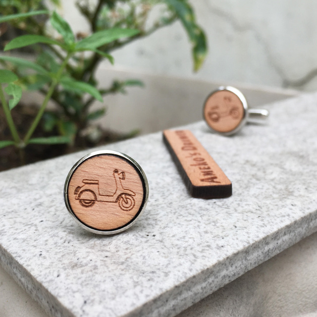 Jewelry Solid Wood Motorcycle Suit Cufflinks Wooden Cuff Link X 1 Pair