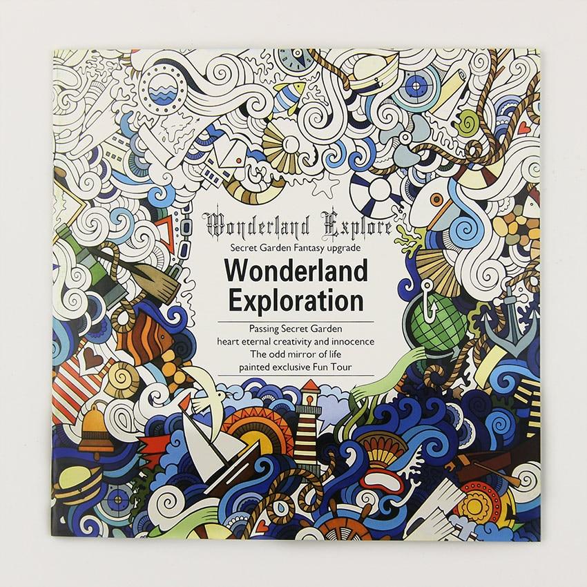 1 шт. 24 страниц Wonderland Exploration раскраска для детей и взрослых снять стресс убить время граффити живопись книги по искусству