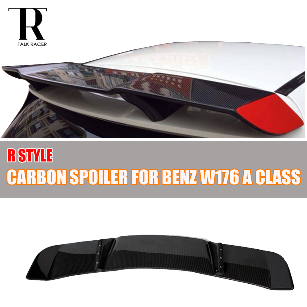 W176 R Style Carbon Fiber Rear Roof Spoiler Wing for Benz A-Class A180 A200 A250 A260 A45 AMG 2013 2014 2015 2016 2017 mercedes w176 carbon fiber rear bumper canards for benz a class a45 amg package 2012 rear air dam trimming