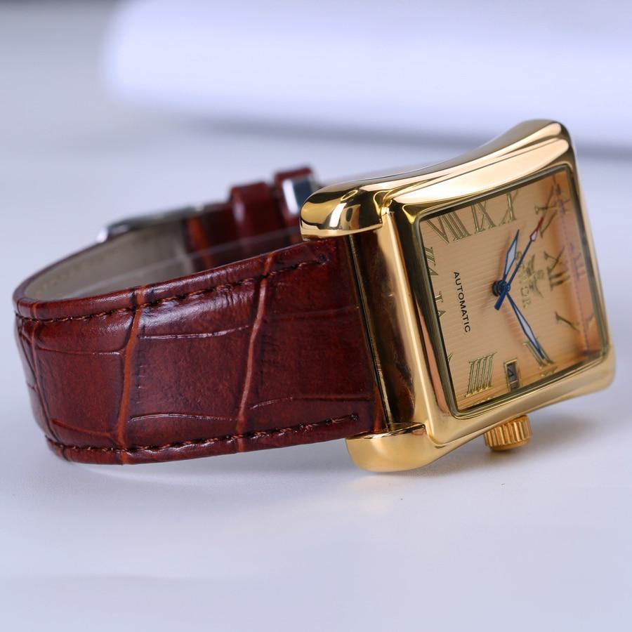 New SEWOR Top Brand Luxury Rectangular Men Watches Automatic Mechanical Watch Roman Display Antique Clock Relogio Wrist Watch