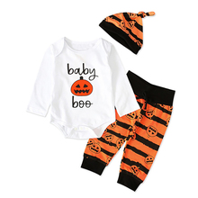 Newborn Infant Baby Clothes Set Infant Baby Girls Boys Letter Print Romper Jumpsuit Halloween Pants Outfits Set Kids Clothes boys letter print romper with pants