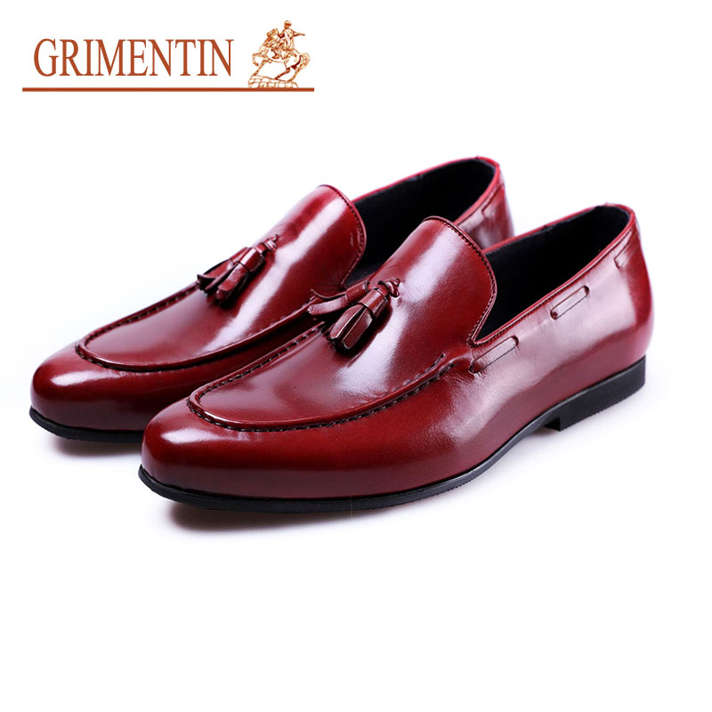 Grimentin Fashion Men Loafer Shoes Luxury Designer Tassel Business Shoes Genuine Leather Slip On Men Dress Casual Shoes jiabaisi fashion casual design leather loafer comfort men s shoes jsb170314002