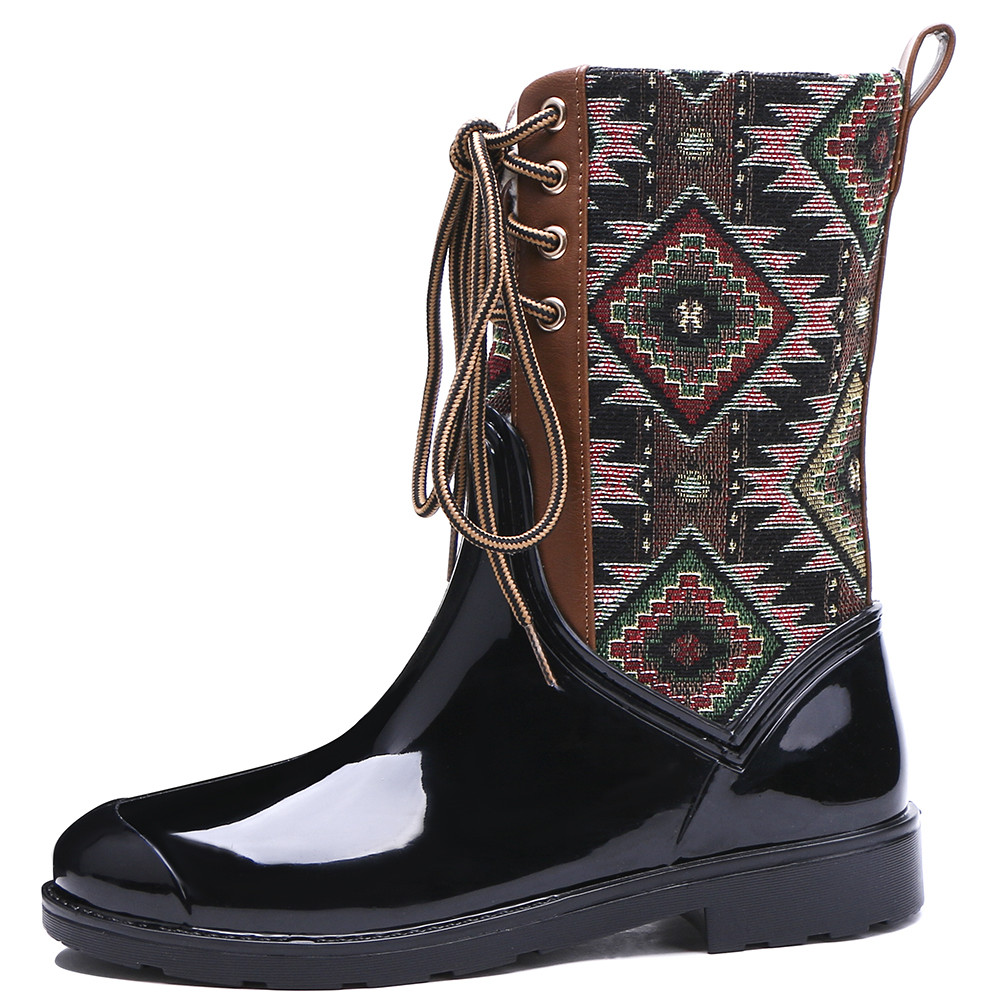 TONGPU Geo-Pattern W Lace-Up Women's Mid-Calf Waterproof Winter Rain Boots 154-447 double buckle cross straps mid calf boots
