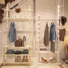 Wood Coat Rack European Floor Bedroom Hanger Shelf Living Room Clothes Stands Shoe