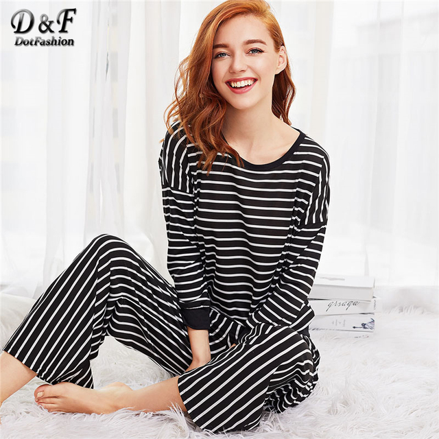 cd04c2b029d Dotfashion Black Striped Casual Long Pajama Set New Fashion Spring Round  Neck Women Clothing Long Sleeve Pajama Set