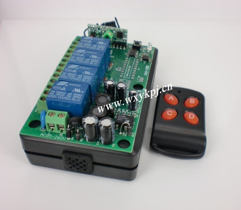 Factory Price Wide Rang Voltage 85V~220V 10A 4CH Channel RF Wireless Remote Control System Receiver & Transmitter 315-433MHZ