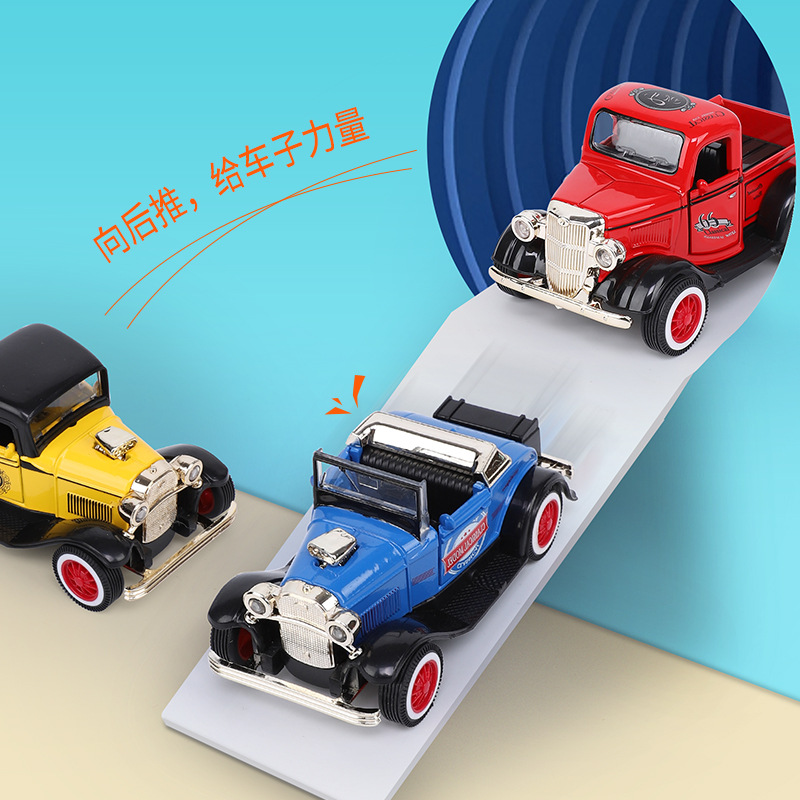 Mini Oldtimer <font><b>1:43</b></font> In Toy Vehicle Pull Back Classic <font><b>Vintage</b></font> Car Alloy Material A Variety of Styles Best Gift Toys for Children image