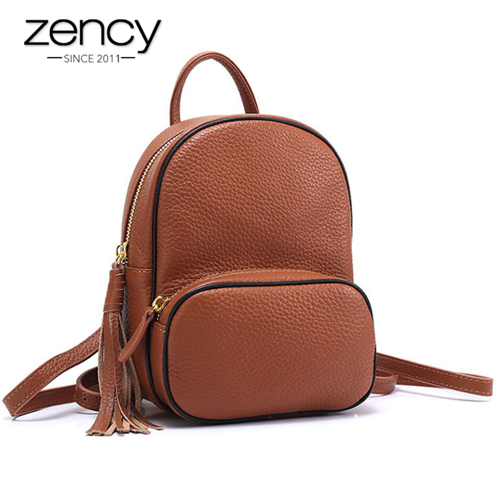 Zency Fashion Brown Women Backpack 100 Genuine Leather Small Travel Bag Lady Daily Casual Knapsack With