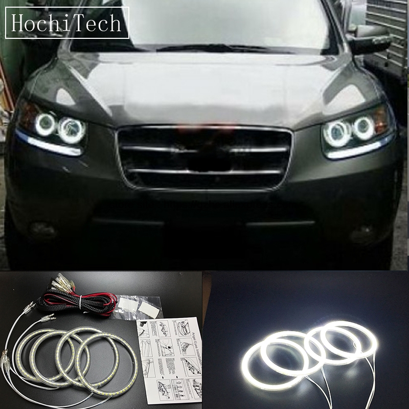 HochiTech Ultra bright SMD white LED angel eyes halo ring kit daytime running light DRL for Hyundai Santa Fe santafe 2007-2012 cawanerl car canbus led package kit 2835 smd white interior dome map cargo license plate light for audi tt tts 8j 2007 2012