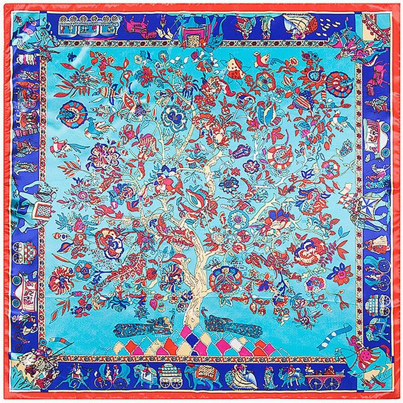 POBING 2018 New Women Scarf Luxury Brand Plant Hijab Silk Satin Shawl Scarfs Foulard Square Head Scarves Wraps 90*90CM Wholesale
