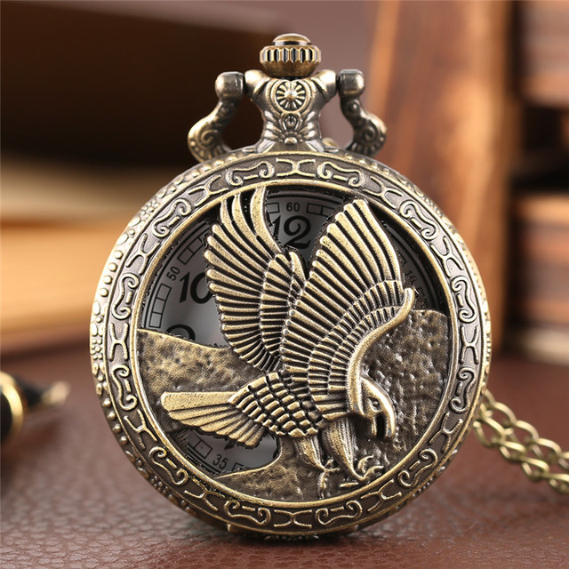 Eagle Pocket Watch Hollow Flying Hawk Falcon Carving Slim Necklace Antique Anima
