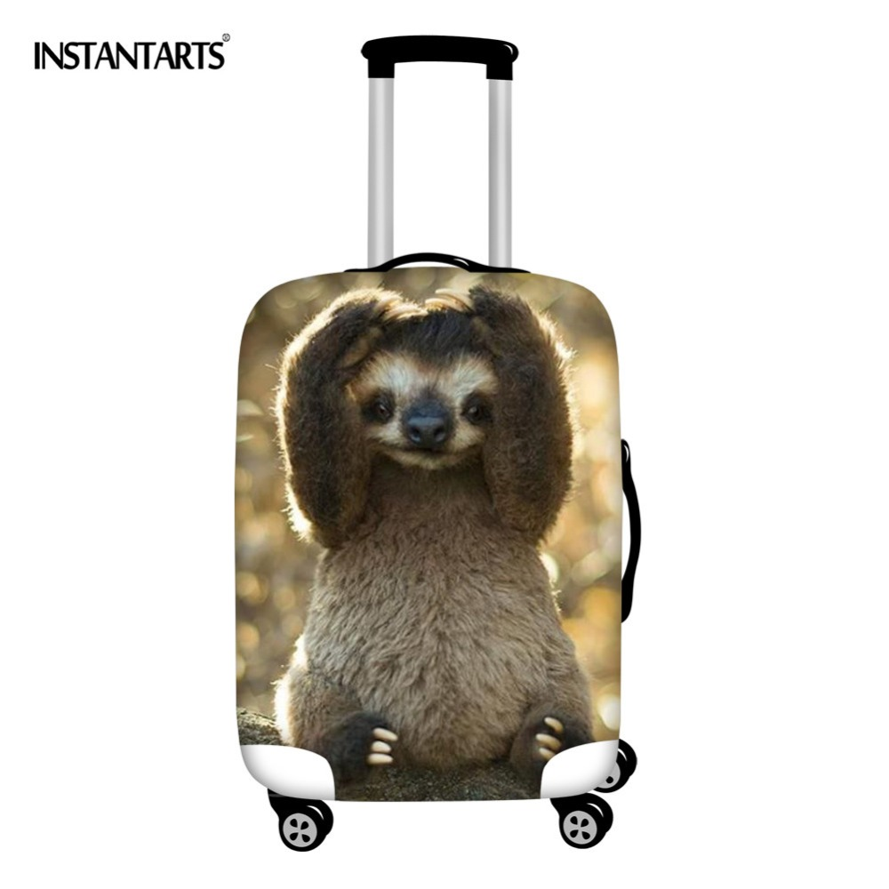 INSTANTARTS 3D Animal Baby Sloth Printing Trolley Suitcase Protect Cover Zipper Waterproof Dust Rain Travel Luggage Case Covers