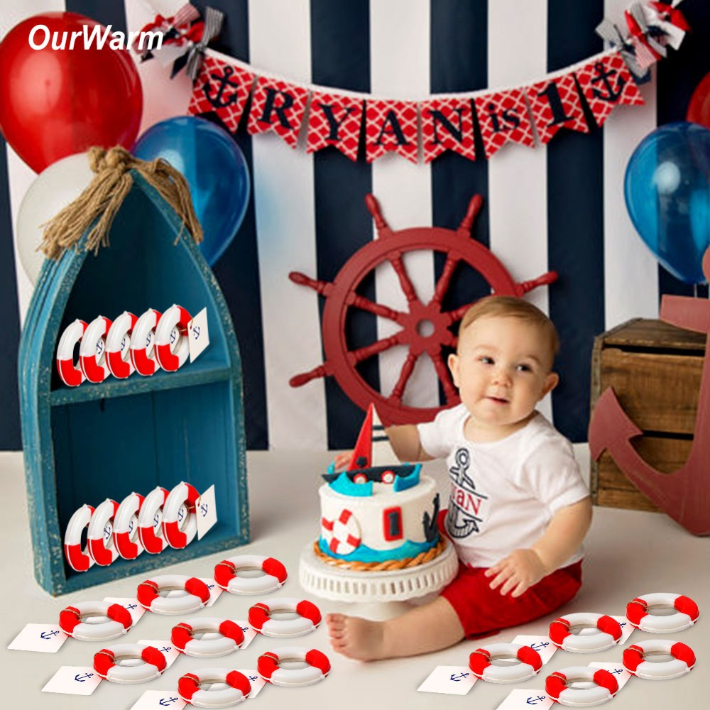 OurWarm Nautical Baby Souvenirs Wedding Favors and Gifts 50pcs Lifesaver Bottle Opener +Tags+Rope Party Favors for Kids Birthday image